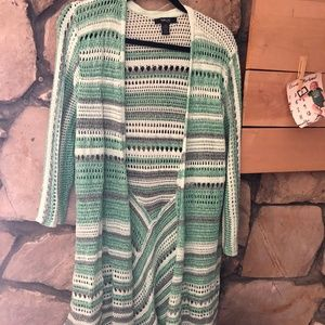 Style & Co Green Crochet Long Cardigan